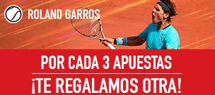 Sportium Roland Garros por cada 3 Apuestas regalamos otra