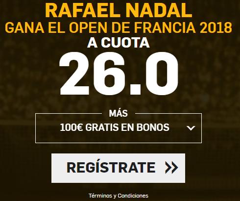Supercuota Betfair Rafael Nadal gana el Open de Francia 2018